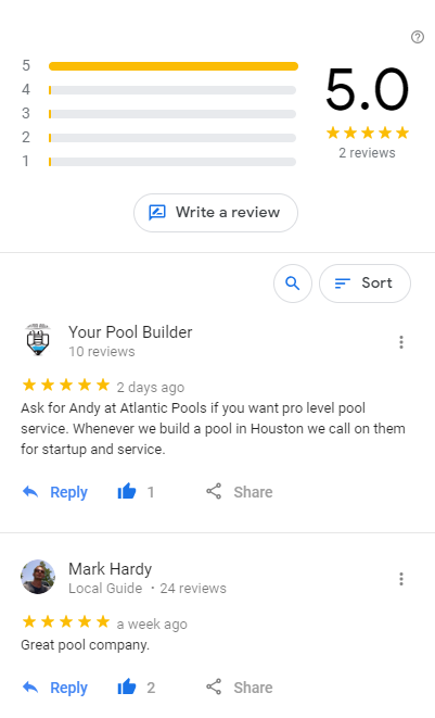 Reviews of Atlantic Pools Houston Pool Services